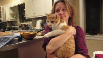 Mom with my cat, Nashi